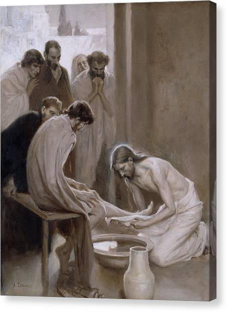 Mercy Canvas Print - Jesus Washing The Feet Of His Disciples by Albert Edelfelt