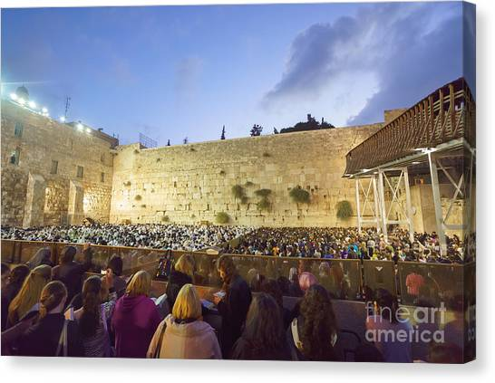 Jewish Sunrise Prayers At The Western Wall, Israel 8 Canvas Print