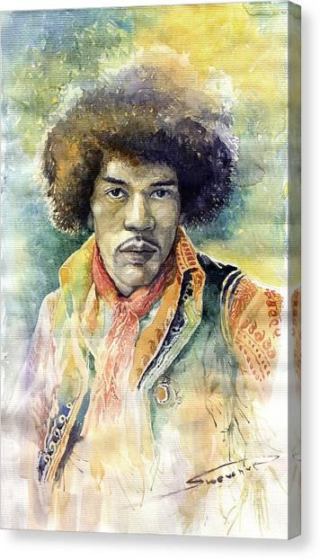 Jimi Hendrix Canvas Print - Jimi Hendrix 06 by Yuriy Shevchuk