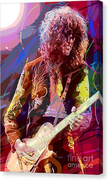 Led Zepplin Canvas Print - Jimmy Page Les Paul Gibson by David Lloyd Glover