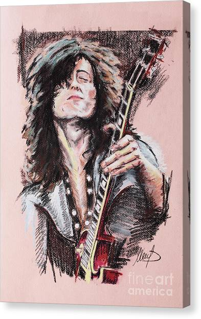 Led Zepplin Canvas Print - Jimmy Page by Melanie D