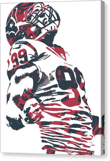 Houston Texans Canvas Print - Jj Watt Houston Texans Pixel Art 6 by Joe Hamilton