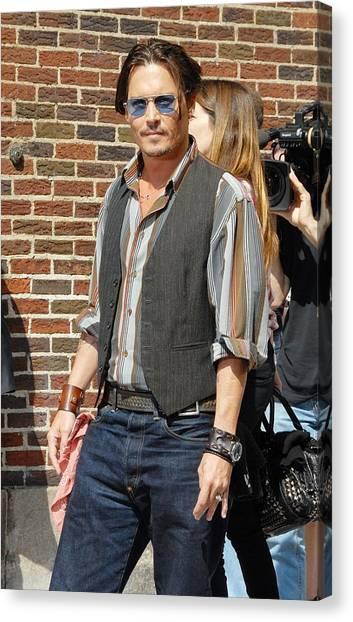 Johnny Depp Canvas Print - Johnny Depp At Talk Show Appearance by Everett