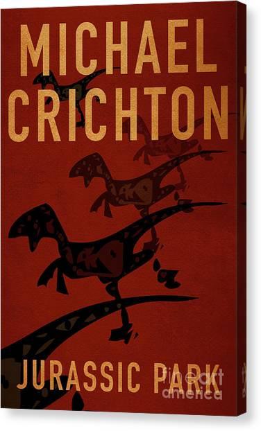 Jurassic Park Canvas Print - Jurassic Park By Michael Crichton Minimalist Movie Poster Book C by Nishanth Gopinathan