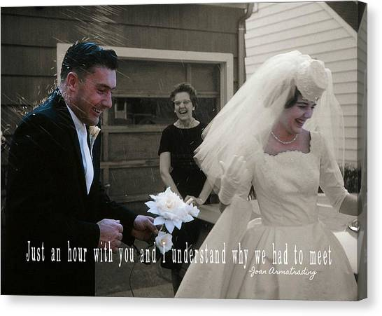 Just Married Quote Canvas Print by JAMART Photography
