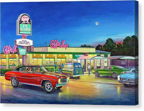 Muscle Car Cruise Night Canvas Print