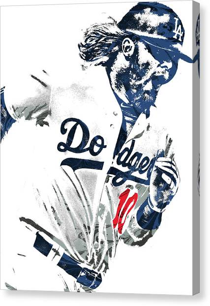 Los Angeles Dodgers Canvas Print - Justin Turner Los Angeles Dodgers Pixel Art by Joe Hamilton