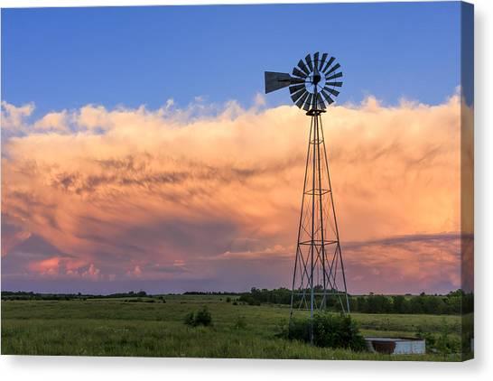 Kansas Windmill And Storm Canvas Print