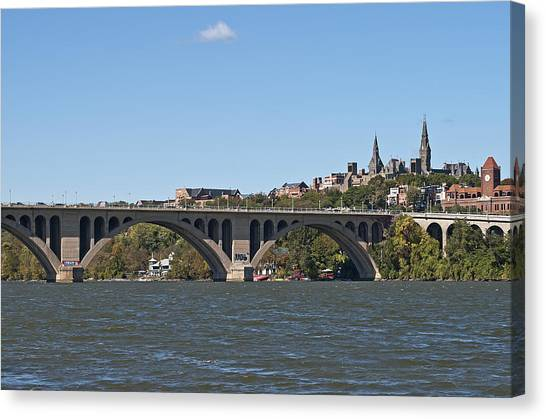 Big East Canvas Print - Key Bridge Over The Potomac River by Brendan Reals