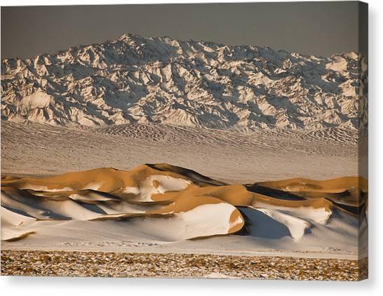 Gobi Desert Canvas Print - Khongor Sand Dunes In Winter Gobi by Colin Monteath