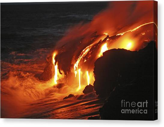 Lava Canvas Print - Kilauea Lava Flow Sea Entry, Big by Martin Rietze
