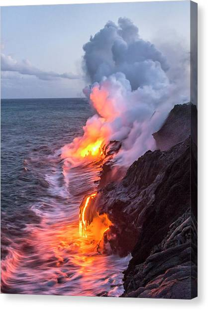 Pele Canvas Print - Kilauea Volcano Lava Flow Sea Entry 7 - The Big Island Hawaii by Brian Harig