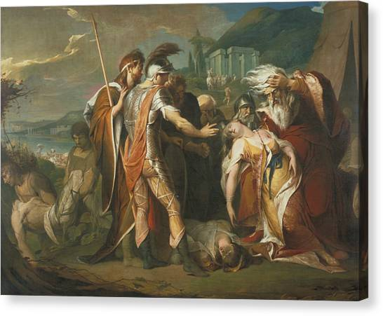 Neoclassical Art Canvas Print - King Lear Weeping Over The Dead Body Of Cordelia by James Barry
