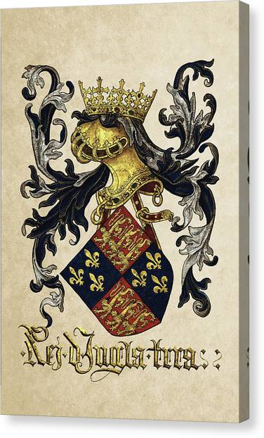 Supplies Canvas Print - King Of England Coat Of Arms - Livro Do Armeiro-mor by Serge Averbukh
