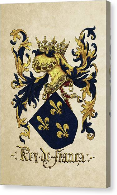 Supplies Canvas Print - King Of France Coat Of Arms - Livro Do Armeiro-mor  by Serge Averbukh