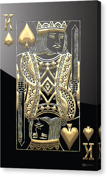 Gold Canvas Print - King Of Spades In Gold On Black   by Serge Averbukh