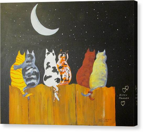 Kitty Friends Canvas Print
