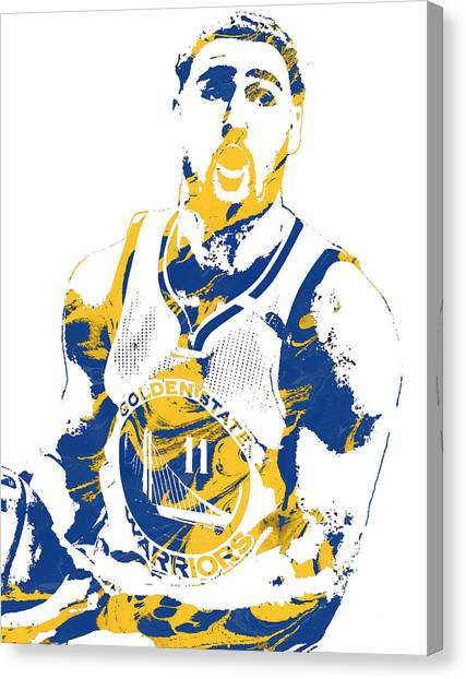 Golden State Warriors Canvas Print - Klay Thompson Golden State Warriors Pixel Art 3 by Joe Hamilton