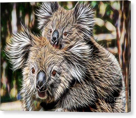 Animal Canvas Print - Koala Bear Mom And Child by Marvin Blaine