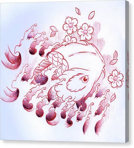 Koi Canvas Print - Koi Carp Tattoo Art by Samuel Whitton