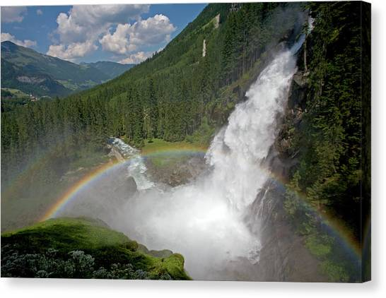 Krimml Waterfall And Rainbow Canvas Print