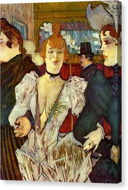 La Goulue Arriving At The Moulin Rouge With Two Women Canvas Print