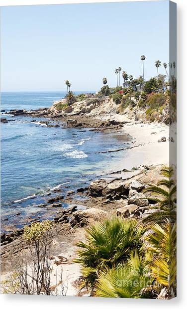 Beach Cliffs Canvas Print - Laguna Beach California by Paul Velgos