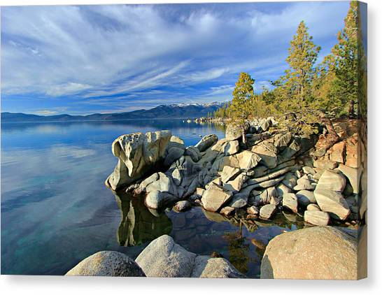Canvas Print featuring the photograph Lake Tahoe Rocks by Sean Sarsfield