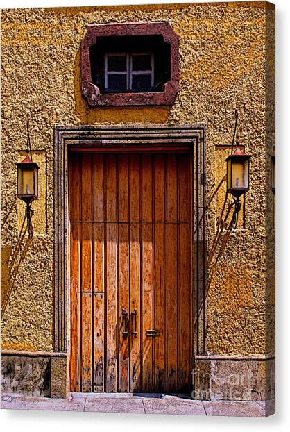 Lamps And Door Canvas Print by Mexicolors Art Photography