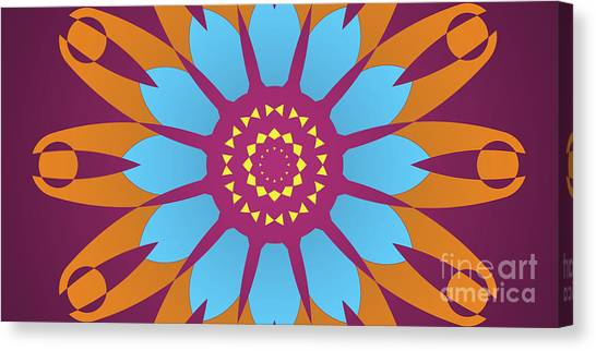 Arte Canvas Print - Landscape Purple Back And Abstract Orange And Blue Star by Drawspots Illustrations