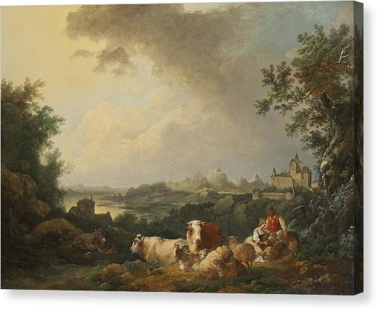 James Franco Canvas Print - Landscape With Resting Cattle by Treasury Classics Art