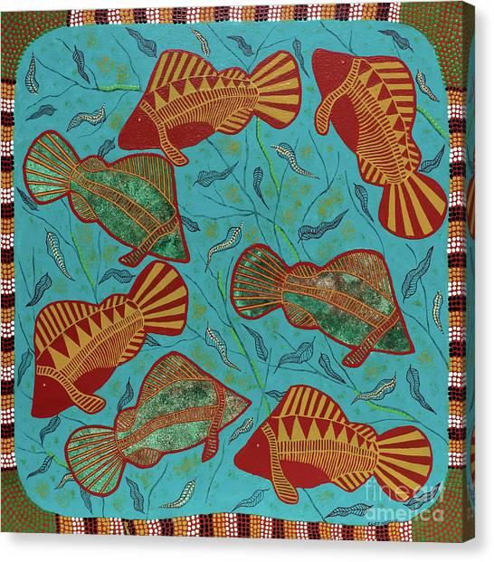 Large Barramundi Swimming  Canvas Print