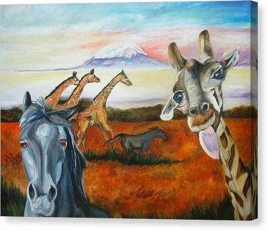 Laughing Giraffe  Canvas Print by Andrea  Darlington