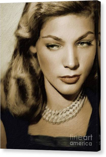 Stardom Canvas Print - Lauren Bacall, Vintage Actress by Mary Bassett