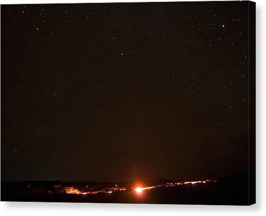 Lava And Stars In Hawaii Canvas Print by Fredrik Schenholm