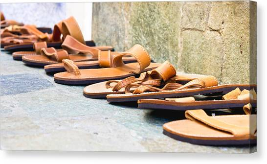 Ankles Canvas Print - Leather Sandals by Tom Gowanlock