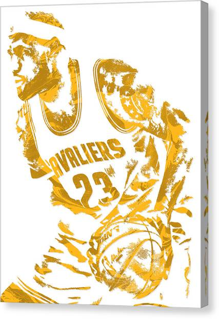 Cleveland Cavaliers Canvas Print - Lebron James Cleveland Cavaliers Pixel Art 7 by Joe Hamilton