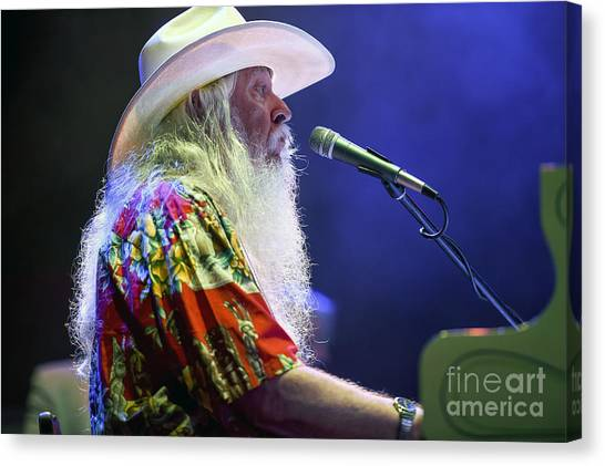 Leon Russell Canvas Print - Leon Russell With Mad Dogs And Englishmen Tribute To Joe Cocker Fe by David Oppenheimer