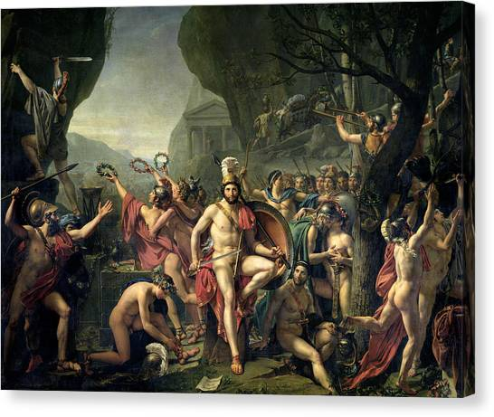 Neoclassical Art Canvas Print - Leonidas At Thermopylae by Jacques-Louis David
