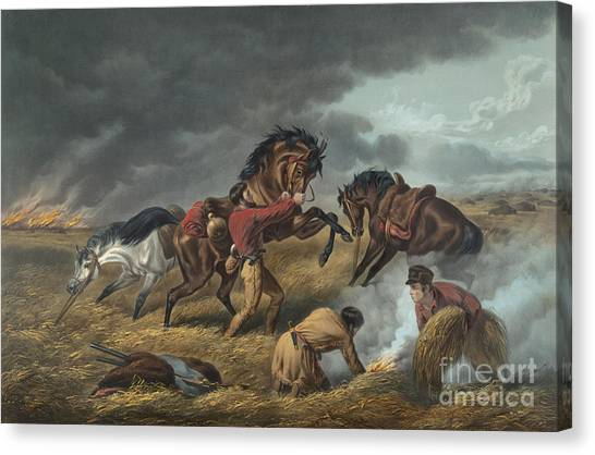 Currier And Ives Canvas Print - Life On The Prairie by Currier and Ives
