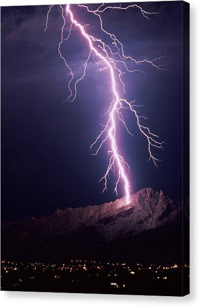Lightning Over Tucson Canvas Print by Keith Kent