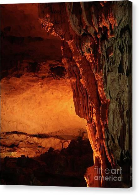 Limestone Caves Canvas Print - Limestone Cave Vietnam  by Chuck Kuhn