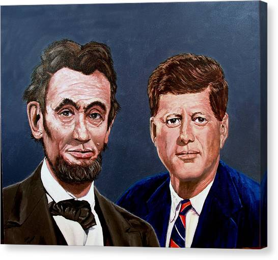 Lincoln And Kennedy Canvas Print by Stan Hamilton