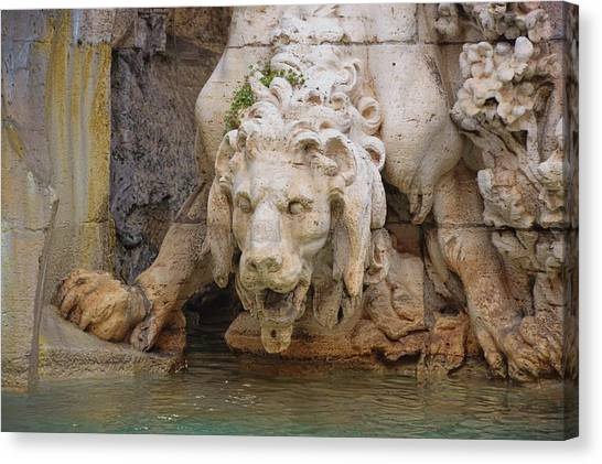 Lion In The Fountain Canvas Print by JAMART Photography