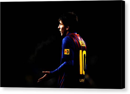 Diego Maradona Canvas Print - Lionel Messi 2b by Brian Reaves