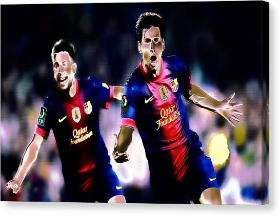 Diego Maradona Canvas Print - Lionel Messi And Jordi Alba by Brian Reaves
