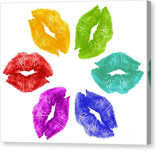 Lipstick Kisses In Color Canvas Print by Blink Images