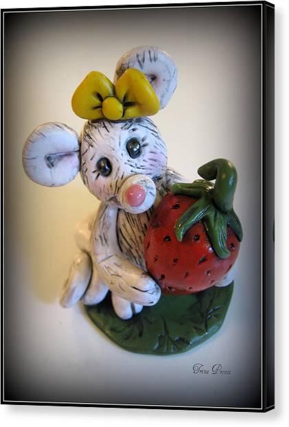 Little Mouse Big Strawberry Canvas Print by Trina Prenzi