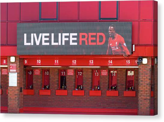 British Premier League Canvas Print - Liverpool Uk. 17th Sepember 2016. The Ticket Office At Liverpool Football Club Stadium Kop End by Ken Biggs