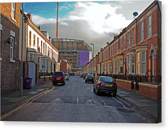 British Premier League Canvas Print - Liverpool Uk January 8th 2016. Construction Of A New Stand, Part by Ken Biggs